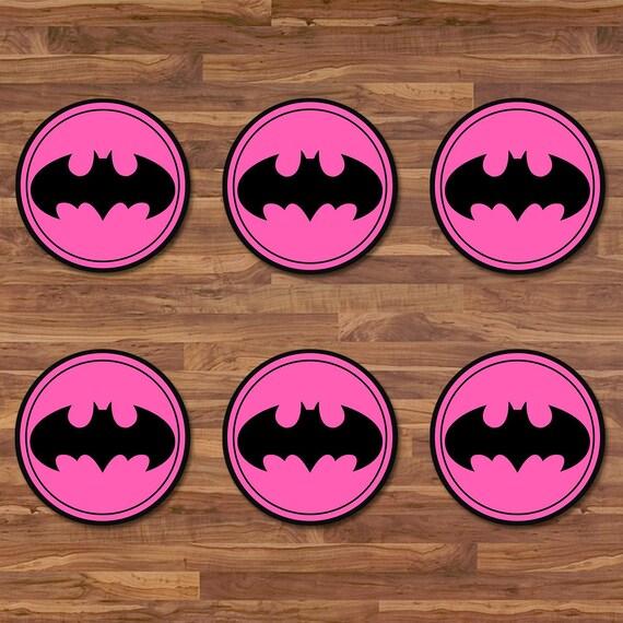 Batgirl Cupcake Toppers - Batgirl Stickers - Black & Pink Logo - Batgirl Birthday - Batgirl Printables - Batgirl 2 inch Round Stickers