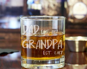 Pregnancy Reveal To Grandpa - Grandpa Est. Whiskey Glass - Gift for Grandpa - Baby Reveal Ideas - New Grandpa Gifts - Baby Announcement