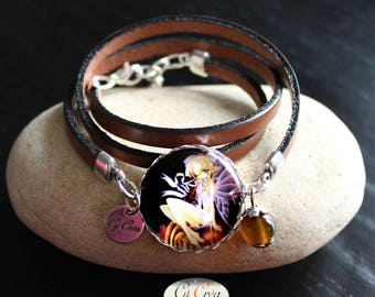 Bracelet Leather Brown Cabochon fairy ° °