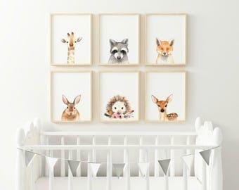 Giraffe Animal nursery decor, Nursery wall art, PRINTABLE art, animal prints, Nursery safari prints, Giraffe print, Rabbit print, Deer print