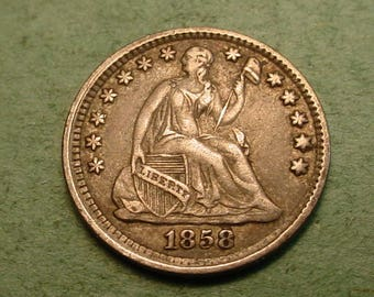 Pre-Civil War Silver Half Dime  1858  VF / XF / Free Shipping, The coin you see is the coin you get  <>ET5080