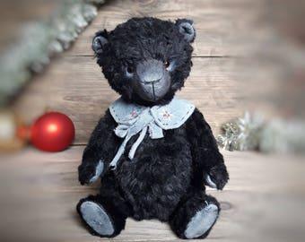 Teddy Bear Black Plush Stuffed Jointed Animal OOAK