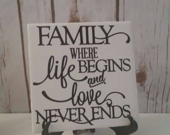 Family Decorative Ceramic Tile, Family, Tile with saying, Home Decor, Christmas, Gift