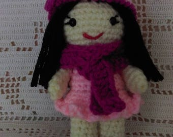 Doll pink with black hair