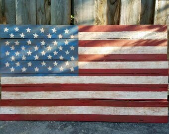 American Flag on Reclaimed Wood, Wall Art, Pallet Boards