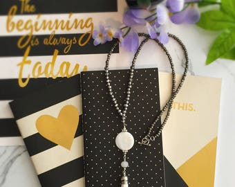Silver & white Tassel Necklace