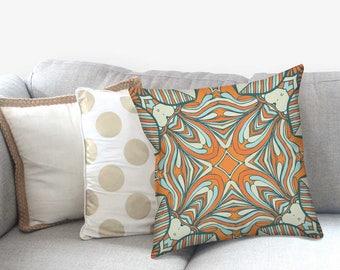 Orange Throw Pillow - Bohemian Pillow - Mandala Pillow Cover - Boho Decor - Pillow Sham - Mandala Pillow - Mandala Pillowcase