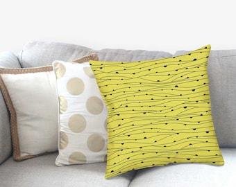 Modern Yellow Pillow - Striped Pillow Sham - Modern Home Decor -  Decorative Pillow - Textured Pillow - Accent Pillow