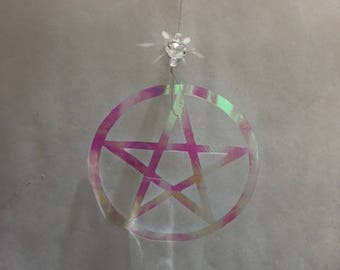 Iridescent Pentagram Mobile, Suncatcher, Pagan mobile, Room decor
