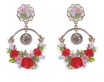 Flower tender Earrings, Pink Roses, peonies earrings. Pink flower earrings. Peony jewelry. Tender earrings, flower earrings, Summer Earrings