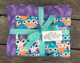Owl print flannel blanket with trim for baby or child, soft and cuddly blanket, woodland nursery, teal and purple, gender neutral nursery