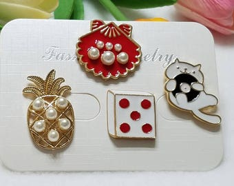 Fashion pin set of 4. Enamel pins. Gifts.