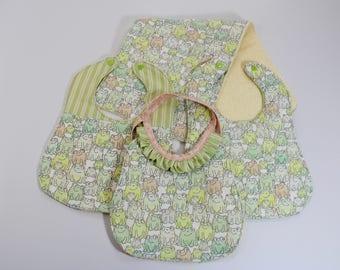 Frog Baby Bib and Burp Cloth Set