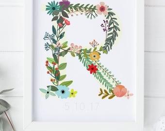 Custom Baby Print | Floral Print | Personalised Name Print | Nursery Print | Floral Name Print | Custom Name Print