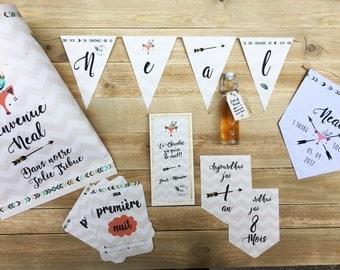 Cadeaux naissance, fanion naissance, carte étapes, pochette cadeau personnalisée
