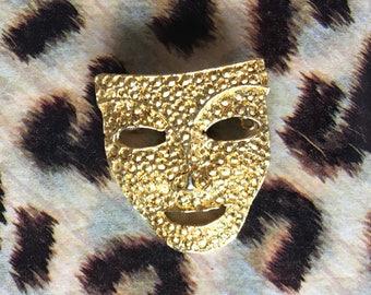 Vintage BAFTA style theatre mask brooch