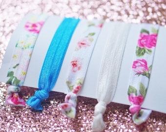 Hair Ties, Floral Hair Ties, Floral Elastic Hair Tie