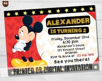 Mickey Printed Invitation, Mickey Invitation, Mickey Birthday,  Mickey Printable, Mickey Digital, Mickey, Disney Party, Mickey,  HBS 21