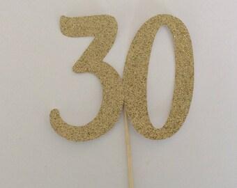 30 cake topper, Age cake topper, Number cake topper, Thirty cake topper, Birthday cake topper, Gold cake topper, Dirty Thirty, 30th topper
