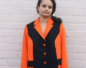 80s / 90s Orange & Black Blazer Jacket
