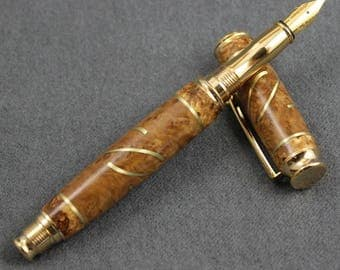 Virage Fountain Pen with Burl Wood and Brass Inlay