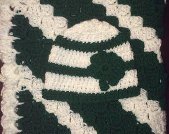 Newborn blanket and hat set
