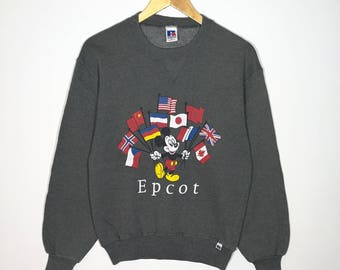 Rare!! Vintage 90s Mickey Mouse Epcot Sweatshirt Russel Athletic Size Small Very Good Condition Mickey Mouse Rare Activewear