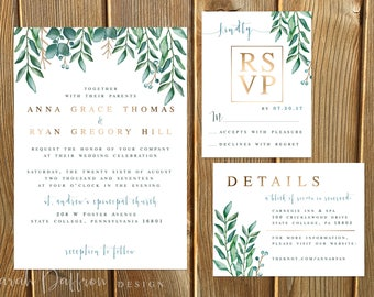 Watercolor Leaves Gold Foil Wedding Invitation Suite -- Digital File (Printable PDF) or Printed
