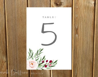 Chelsea Greenery Table Number Cards -- Digital File (Printable PDF) or Printed