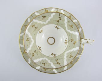 Vintage Beige and Gold Teacup and Saucer. Pattern 7169