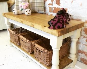 Handmade Refectory Farmhouse Bench/ Coffee Table with Shelf