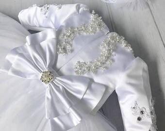 Kommunionkleid Erste Kommunion First Communion Dress Kleid Blumenmädchenkleid Blumenmädchen Festkleid Festzug Spitze Schleife Korsage Taufe