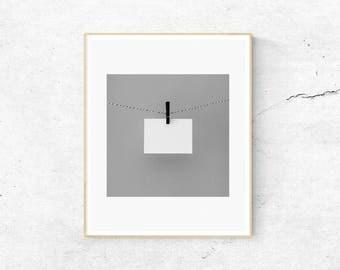 Minimalist Print, Black and White Print, Letter Print, Paper Print, Black and White, Digital Download
