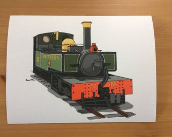 Lynton and Barnstaple Steam Locomotive Illustration Print