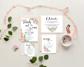 Wedding Invitation | Printable Wedding Invitation | Wedding invitations | Floral Wedding | Wedding Invites |Felicity Suite|Made in Australia