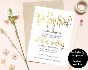 Wedding Invitation | Printable Wedding Invitation | Wedding invitations | Gold Wedding | Wedding Invites |Mandy Suite|Made in Australia