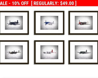 6 Airplanes WWII prints, airplane print, airplane wall art, boys room decor, kids room decor, airplane decor, airplane nursery, airplane art