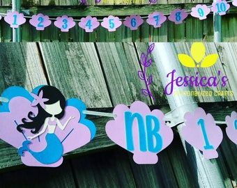 Mermaid Month banner, mermaid birthday banner, first birthday banner, month banner, Mermaid banner, mermaid party