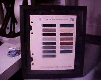 1941 Chevrolet Color Chips Framed