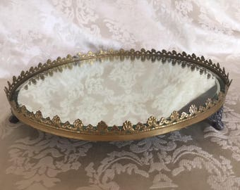 Vintage Vanity Mirror Tray with Gold Rim 1960s