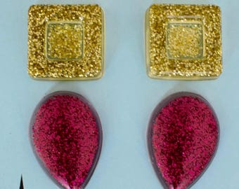 Gold and Pink Resin Glitter Earrings