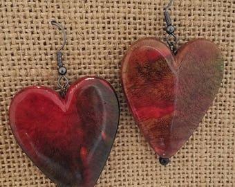 Two-Tone (bloodstone) Dangle/Drop Heart Earrings