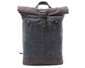 Waxed Canvas Backpack / Father's Day Gifts / Boyfriend's Gift / Vintage Laptop Backpack / Leather Backpack / Men Backpack / Women Backpack