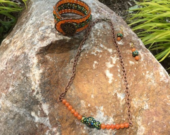 Green Leather Wrap Bracelet, Matching 10 inch Bronze Chain Necklace and Dangling Earrings