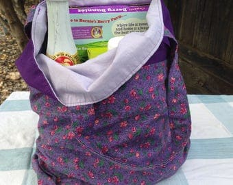 Purple and Lavender Floral Reversible Tote