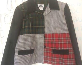 Womens Vintage plaid blazer size Large