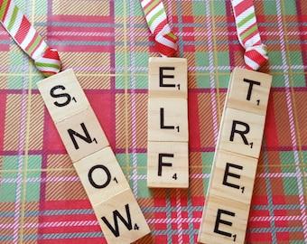 Scrabble Tile Christmas Tree Decorations Set of Three
