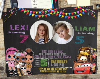 Custom Double Birthday Invitations, Sibling Birthday Invitations,  Dual Combined Invites, Twins Birthday Invitations, Thank you card FREE