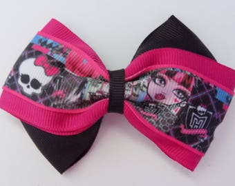 Monster High Girl's Hair Bow Sweep Style - Hair accessory, Hair bow for girl, Toddler hair bow, Grosgrain ribbon hair bow, Hair fashion