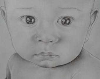 CHILD PORTRAITS hand drawn in pencil to order
